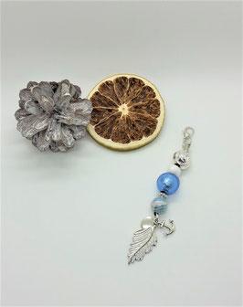 Schmuckanhänger Blatt (blau-silber)