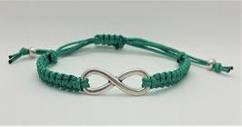 Armband Makramee Jadegrün Infinity