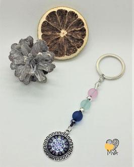 Schlüsselanhänger Perlen Mäander (blau-rosa)