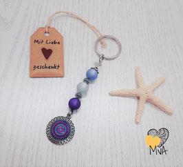 Schlüsselanhänger Perlen Mäander (violett-blau)