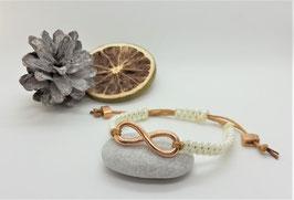 Armband Makramee Gold-Beige Infinity