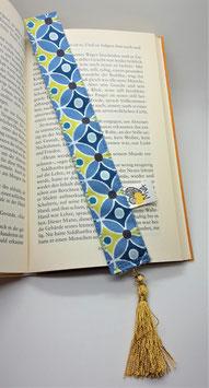 Buchzeichen Muster Blau Gold