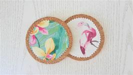 Glasuntersetzer Flamingo / Blumen, 4-er-Set