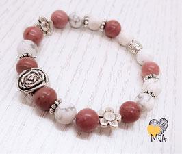 Perlenarmband Rose (Rhodonit/Howlith)