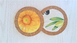 Glasuntersetzer Blumen / Oliven, 4er-Set