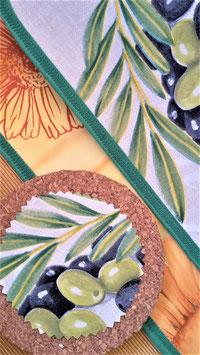 Wende-Tischset Oliven-Blumen, 4-teilig