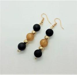 Ohrschmuck Perlen (schwarz-gold)