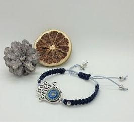 Armband Makramee Hamsa Blau