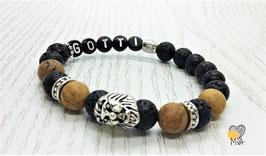 Perlenarmband Löwenkopf mit Wunschtext