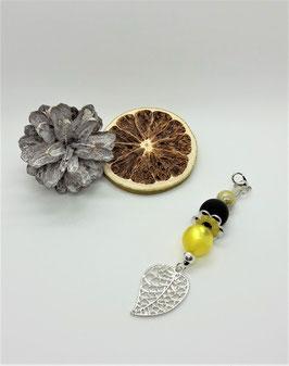 Schmuckanhänger Blüte (gelb-schwarz-silber)