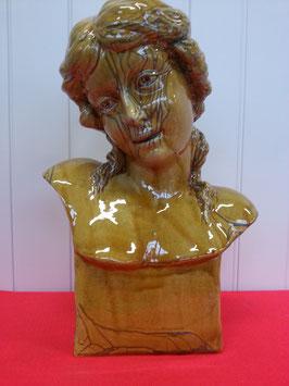 Buste Art Déco Design Femme à la Tresse Craquelé Faience de Desvres