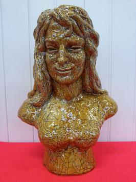 AnonymeBuste Art Déco design Femme Craquelé Faience de Desvres musee boulogne sur mer
