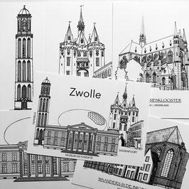 Set/6 ansichtkaarten van Zwolle