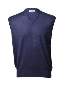 Gran Sasso Uomo Gilet Chiuso ( pullover s/m) Lana Merinos Extra Fine Blu