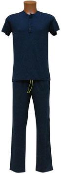 -10% Perofil T-Shirt Mezza Manica Serafino Blu
