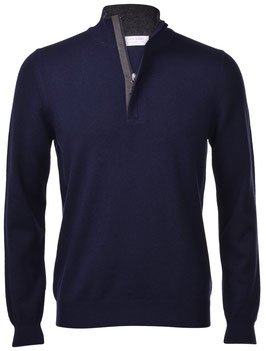 -35% Gran Sasso Lupo Zip Blu c/profili in lana e toppe in alcantara
