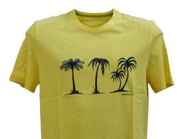 Perofil T-Shirt Mezza Manica Gialla Stampa Palme