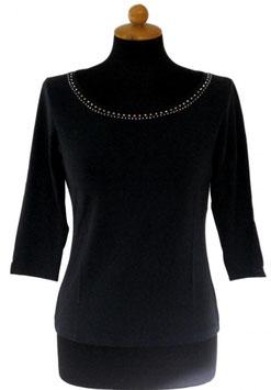 -35% Gran Sasso Donna Maglietta Manica 3/4 Collo Barchetta con Cristalli di Swarovski Blu Notte