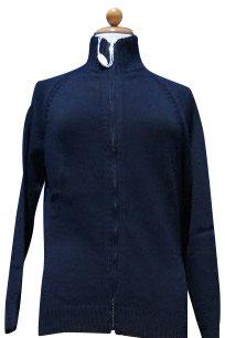 -40% Gran Sasso Donna Cardigan Bomber Zip Cotone Blu