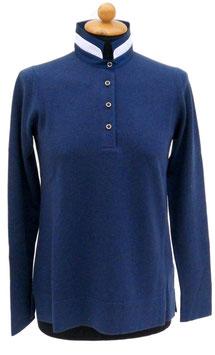 -35% Gran Sasso Donna Polo Lana E Cashmere con Collo In Seta Blu Chiaro