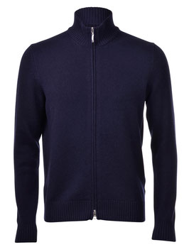 -30% Gran Sasso Cardigan Full Zip il Lana e Cashmere Blu Notte