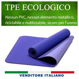 Fratelli Bellucci Tappetino Yoga Antiscivolo Doppio Strato TPE Ecologico con Borsa da Viaggio per Fitness Pilates Esercizi di Ginnastica Addominali