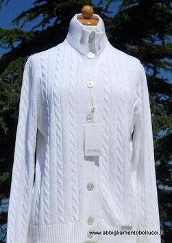 -50% Gran Sasso Donna Cardigan tg.50 Bottoni Trecce Cotone Bianco