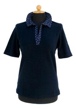 -40% Gran Sasso Polo Donna Cotone Piquet Blu c/collo bianco a pois
