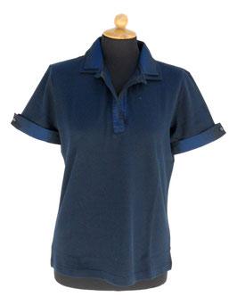 -50%  Gran Sasso Polo Donna solo tg.48 Cotone Piquet c/collo e polsini in seta Blu