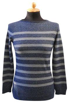 -30% Gran Sasso Donna Barchetta Puro Cashmere Riga Blu/grigio