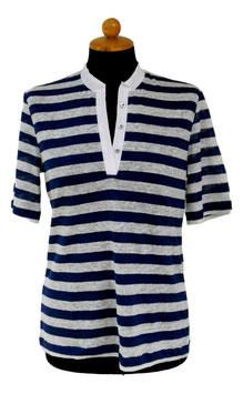 Gran Sasso Donna Polo in Lino  Solo  Mezza Manica Riga Blu/Bianco