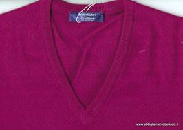 -50% Pullover Gran Sasso Scollo a V 100% Cashmere Fucsia
