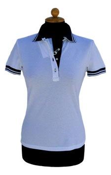 -40% Gran Sasso Polo Donna Cottone Piquet Bianco con i pofili Blu