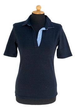 -40% Gran Sasso Donna Polo Cotone Piquet Blu c/collo in contrasto