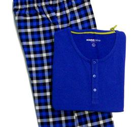 -20% Perofil Pigiama T-Shirt  Serafino Bluette Manica Lunga