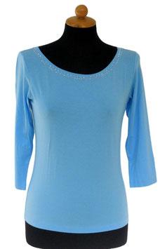 -35% Gran Sasso Donna Maglietta Manica 3/4 Collo Barchetta con Cristalli di Swarovski Azzurro tg.42