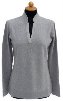 -35% Gran Sasso Donna Polo Lana E Cashmere con Collo In Lana e Lurex Beige/Oro