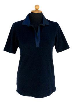 -50%  Gran Sasso Polo Donna solo tg.46 Cotone Piquet c/collo in seta Blu