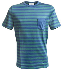 -40% Gran Sasso T-Shirt c/taschino riga Verde/Blu