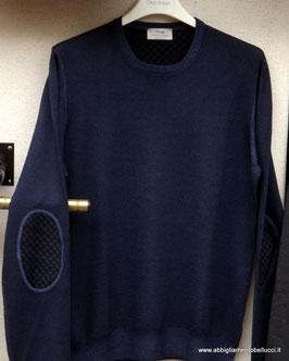 Gran Sasso Vintage Maglione C/toppe pied poule Blu/Nero