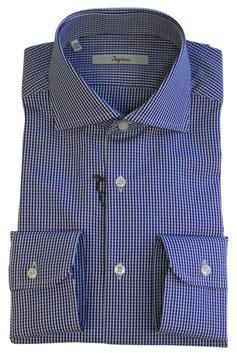 Camicia Ingram Classic Fit Micro Quadrettino Blu/Grigio Chiaro/ Bianco