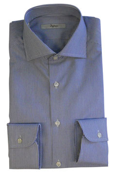 Ingram Camicia Classic Fit Riga Blu/Bianco