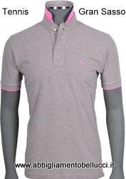 -50% Gran Sasso Polo Uomo Piquet Beige con contrasto fluo rosa