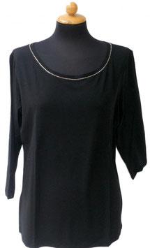 -35% Gran Sasso Donna Maglietta Manica 3/4 Collo Barchetta con Cristalli di Swarovski Nero