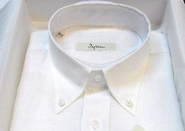 Camicia Ingram Manica Lunga Con Taschino in Puro Lino Darlet Bianco