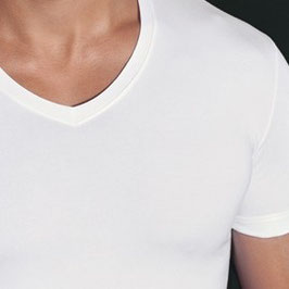 -10% Perofil X-Touch T- Shirt a V Bianco Modal