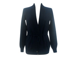 -50% Cardigan Gran Sasso c/coulisse Cashmere e Lana Blu Notte