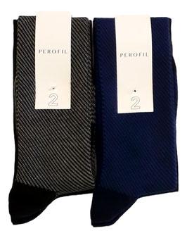 Perofil Calza Lunga Jacquard Bi Pack Cotone Invernale Nero/Grigio