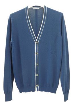 -50% Cardigan Gran Sasso Uomo Cotone Blu Chiaro