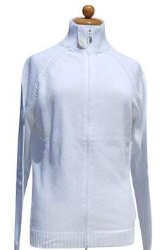 -50% Gran Sasso Donna Cardigan Bomber Zip Cotone Bianco